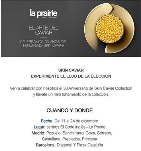Muestras gratis de Skin Caviar en El Corte Inglés